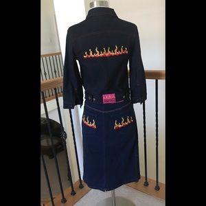 Vintage Betsey Johnson🔥 Denim Jacket & Skirt XS